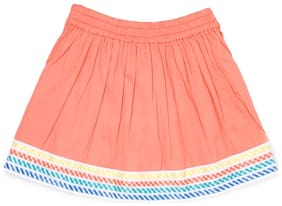 U.S. Polo Assn. Girl Cotton Solid Straight skirt - Orange