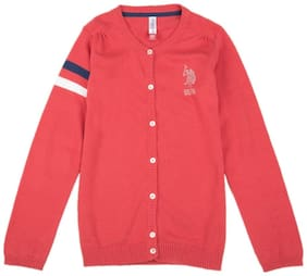 U.S. Polo Assn. Girl Cotton Solid Sweater - Red