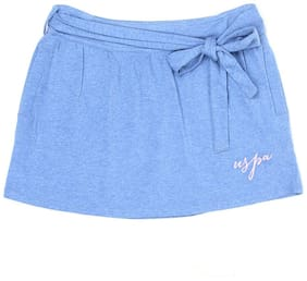 U.S. Polo Assn. Girl Cotton Solid Straight skirt - Blue