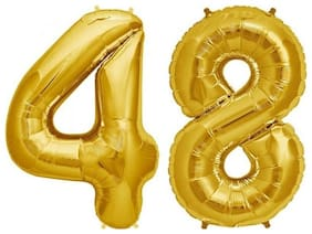 Utkarsh (16 Inch Size) Numerical Number Two Digit 48 Soild (Golden) Color 3D Foil Balloons For Kids Party Supplies;Birthday And Anniversary Parties Decoration And Celebration
