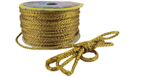 Utkarsh Dark (Golden) Color 18 Mtr. Resham Zari Twisted Thread/Dori Lace For Sewing, Embroidery, Bead Art, Piping, Apparels, Wrapping, Jewellery Making Scrap Booking, Handicrafts & Craft Diy Projects