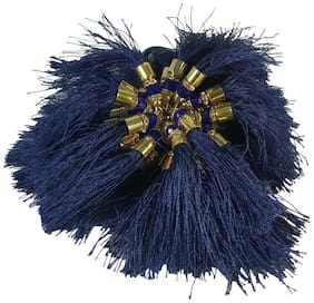 Utkarsh (Navy-Blue) Ethnic Hanging Tassels Latkan (50 Pcs, 3 Inch Long Each) Multi Purposes Embroidery Material Laces & Border For Saree/Blouse/Lehenga/Choli/Suits/Kurti/Arts And Craftwork Decorations