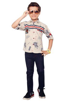 V Kids Boy Cotton Top & Bottom Set - Beige