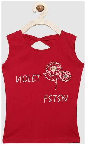 V2 Girl Cotton Printed Top - Red