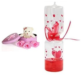 ZUKUNFT FASHION Pink & Red Teddy Bear - 12 cm