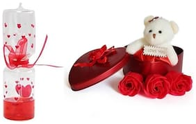 ZUKUNFT FASHION Golden & Red Teddy Bear - 12 cm