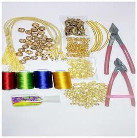 Valuebuy Silk thread Necklace making gold material kit with tools