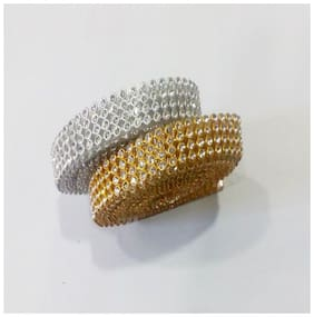 Valuebuy Stone lace Combo Gold & Silver 4-line full length 1.25 m for bangles/jewellery