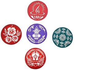 Vardhman Plastic Rangoli Stencil Round (Multicolour,8 inches) - Set of 5 pcs