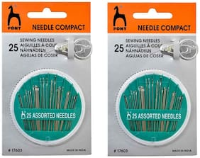 Vardhman Pony 50 pcs Assorted Hand Sewing Needles Pack, Embroidery Mending Craft Quilting with NeedleThreader &12 sea Shell Buttons