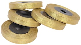 Vardhman Tissue Ribbon Golden 12 mm (1/2 inch) for Gift Wrapping, Suits & Dreses, Craft,Decoration etc, Set of 5, 10 Mtr Ecah
