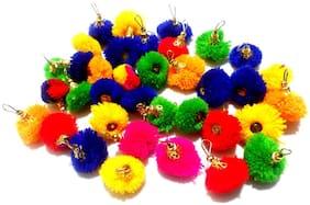 Vardhman Woollen Pom Pom Tassels (28 mm, Multicolour) - Set of 50 pcs