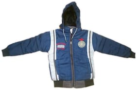 Vastra Vinod Boy Nylon Striped Winter jacket - Blue