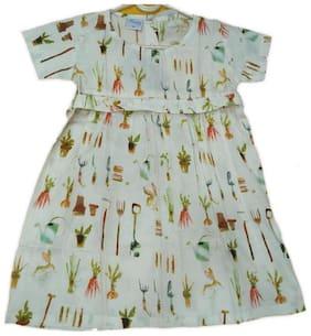 Vastra Vinod Multi Cotton Short Sleeves Knee Length Collar Frock ( Pack of 1 )