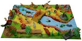 VBE 111 Pieces Wild Animal Play Set Figures Set for Kids/Young Ones Pack of Animals with Jungle Camouflage Play Mat
