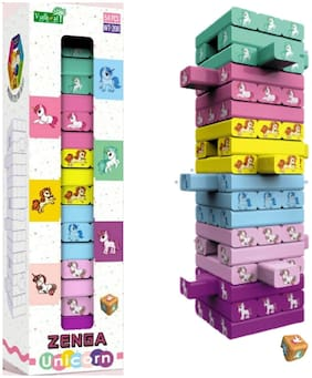 VBE 54 Pcs Wooden Blocks Challenging Color Wooden Tumbling Tower;Wooden Zenga Unicorn Toys with Dices Board Educational Puzzle Game for Adults and Kids Multi