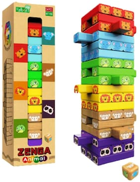 VBE Colored Stacking Game Wooden Building Blocks Animal Tower Board Games for Kids Adults 54 Pieces (Colorful Stacking Game) Multi