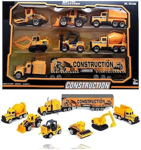 VBE Construction Vehicle Play Set Metal Truck Set;Metal Truck Set Push & Go Metal Construction Vehicles Toy Set for Kids Yellow