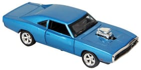 VBE Dodge Charger Metal Pull Back Diecast Car Model with Light and Sound With Opeanable Doors (Blue)