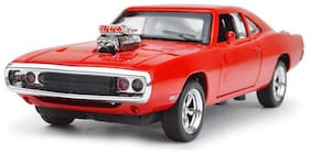 VBE Dodge Charger Metal Pull Back Diecast Car Model with Light and Sound With Opeanable Doors (Red)