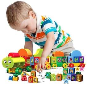 VBE Educational Alphabet ABC Block Train Model Vehicle Learning Colourful Blocks Set Toys for Kids (75 Pieces) Multi