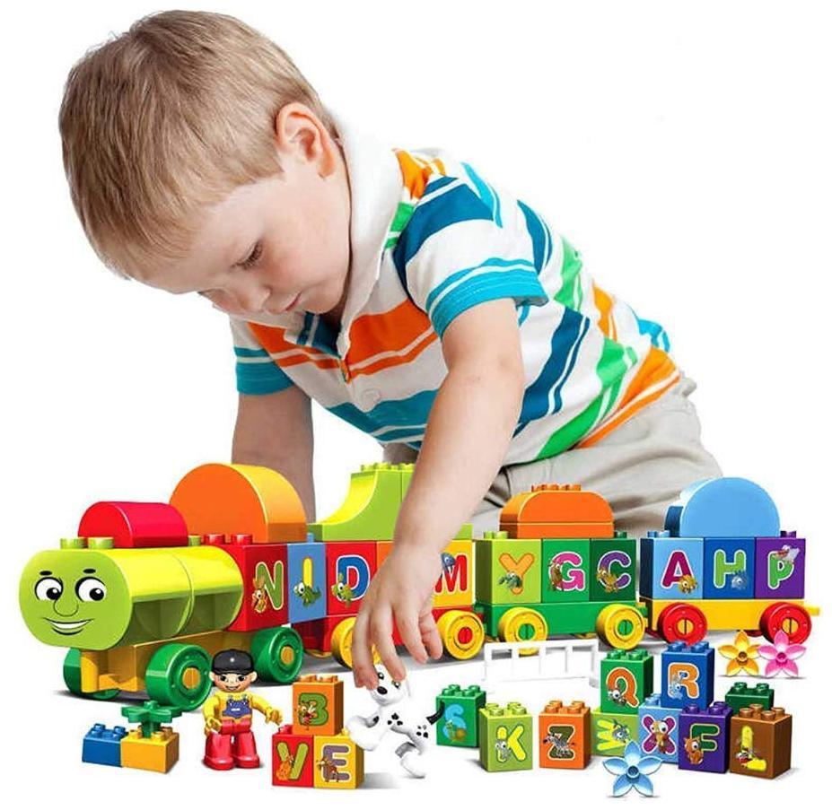 VBE Educational Alphabet ABC Block Train Model Vehicle Learning Colourful Blocks Set Toys for Kids  75 Pieces