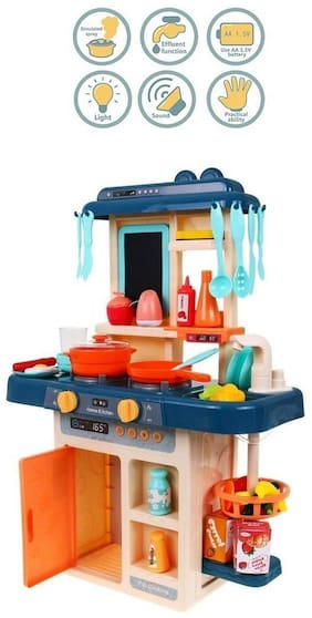VBE Electronic Kitchen Activity Set with Light and Sound 42 Pieces Kitchen Accessories Set for Kids