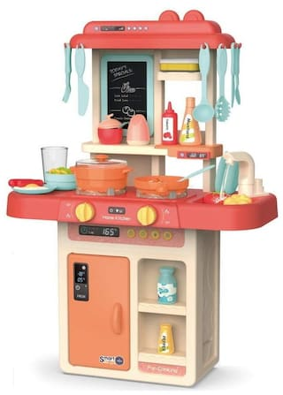 VBE Electronic Kitchen Activity Set with Light and Sound 36 Pieces Kitchen Accessories Set for Kids