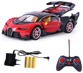 VBE Rechargeable Bugatti Style Remote Control Car with Steering Remote Openable Doors (Red)