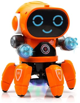 VBE Robot Pioneer Colorful Lights and Music All Direction Movement Dancing Robot Toys for Boys and Girls Orange
