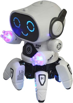 VBE Robot Pioneer Colorful Lights and Music All Direction Movement Dancing Robot Toys for Boys and Girls White