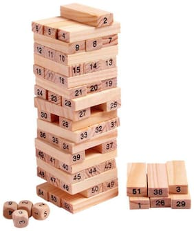 VBE Wooden Block Stacking Game For Kids Numbered BuildingToppling Tumbling Tower