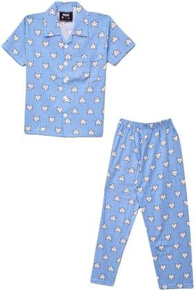 VEESIL Boys Stars Printed Half Night Suit Sleep Wear Top & Pyjama Set for Boy 5 Year -6 Years