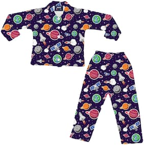 VEESIL Boys Space Planet Printed Anti Bacterial 100% Cotton Full Sleeve Night Suit in Purple Color 3 Years - 4 Years
