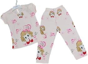 VEESIL Girl's Cotton Printed Top & pyjama set - Pink