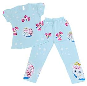 VEESIL Girl's Cotton Printed Top & pyjama set - Blue