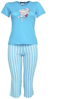 Velvet by night Girl's Cotton Solid Short sleeves Top & capri set - Blue