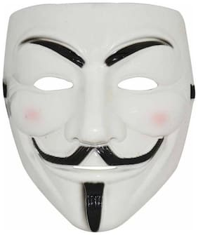 Vendetta Comic Face Mask Anonymous Guy Fawkes (White) Party Mask (White, Pack of 1)