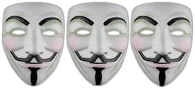 Vendetta Comic Face Mask Anonymous Guy Fawkes, White Mask Set of 3pcs