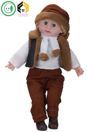 Vijkan Aarushi 22 inches Doll Boy with Muffler Scarf (Multicolor)