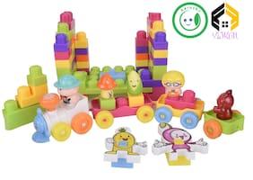 Vijkan Aarushi 88 Pcs Building Blocks Set Educational Toy for Kids (Multicolor)