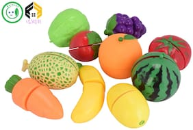 Vijkan Aarushi Realistic Sliceable Fruits or Vegetables Cutting Play Kitchen Set Toy (10 pcs Set)