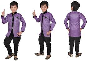 Violet Sherwani and Churidar Set for Boys Violet Sherwani and Churidar Set for Boys