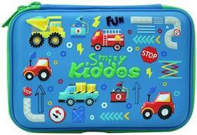 Smily Double Compartment Pencil Case (Blue) | Girls pencil case stylish | pencils case for girls | pencil pouches with zipper | kids school school | school pouches for boys stylish | cute pencil cases