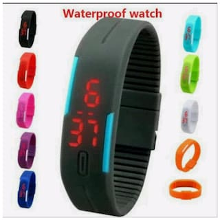 waterproof assorted color led band watch