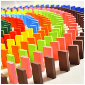 WAY BEYOND Imported Authentic Standard Wooden Domino Game 12 Colors Set, Multi Color (120 Pieces)