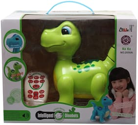 Webby Intelligent Remote Electronic Electric Intelligent Dinosaurs Toy (Green)
