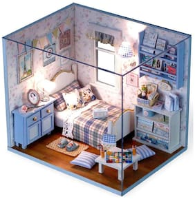 Webby Wooden DIY Bedroom Miniature Doll House with Lights, Blue
