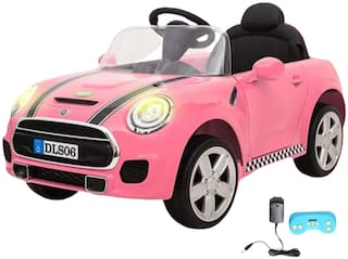 Wheel Power Baby Battery Operated Ride On Mini Cooper Car Pink