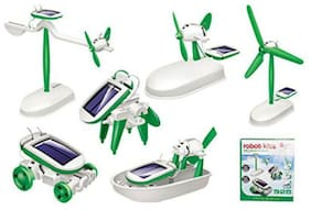 White and Green Color Solar 6 In 1 Robotic Kit - Educational Toys for Kids - Plastic Material Kids Toy